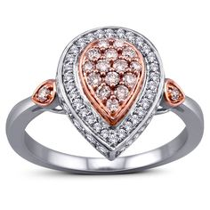 Two perfect almonds one in rare natural pink diamonds in rich rose gold and the other made of white diamonds with a white gold border, lie juxtaposed against each other, as radiant proof that there is beauty in symmetry.