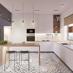 Modern Kitchen Idea cucina scandinava moderna in bianco, nero e legno con piastrelle eclettici - appartamento moderno Scandinavian Kitchen, Cool Kitchens, Kitchen Design Decor, Kitchen Flooring, Kitchen Remodel, Modern Kitchen, Home Kitchens, Kitchen Styling, Minimalist Kitchen