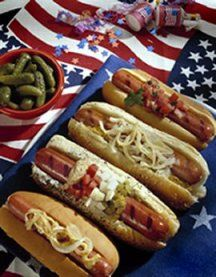 American's favorite hot dog toppings from a recent survey; Mustard, Ketchup, onions & relish, Chili, sauerkraut, cheese & pickles. What's your fav?