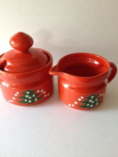 WAECHTERSBACH RED CHRISTMAS TREE SUGAR BOWL & CREAMER GERMANY