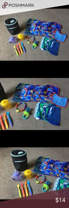 Baby Paw Patrol Feeding Teething & Drinking Lot Baby / Infant / Toddler  Feeding / Teething / Drinking - Lot Bundle Includes: 4 Munchkin Feeding Spoons 1 Munchkin Mesh Teething or Fruit Chewer 1 Bright Stars Teething Ring 2 Sippy Cups - 1 Nuby 1 Enfamil Bottle, Drink & Food Insulted Cooler 6 Multi Color Wash Cloths 6 Bids - 4 are Paw Patrol All items are preowned but have tons of life left. The Paw Patrol bibs are brand new, Never used  FOLLOW ME & Check out my other Baby, Infant & Toddler…
