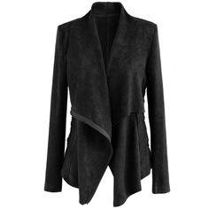 Chicwish Dashing Way Lace-up Suede Jacket in Black ($60) ❤ liked on Polyvore featuring outerwear, jackets, black, suede leather jacket, lace up jacket and suede jackets