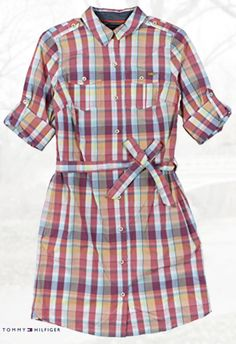 Tommy Hilfiger Women's Roll-Sleeved Belted Plaid Shirtdress
