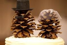 Rustic Mr&Mrs pinecone wedding cake toppers