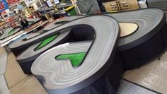 6-lane-wooden-Routed-Slot-Car-Track