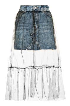 MOTO Tulle Overlay Denim Skirt