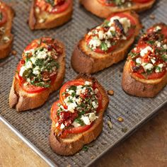Two-Tomato Bruschetta -  Small roma tomatoes are the perfect size for crunchy bruschetta bites. Their tangy flavor complements salty feta and sun-dried tomatoes for an irresistible tomato appetizer. Two Tomato Bruschetta  Makes: 4 servings Prep: 10 mins Bake: 5 mins 350°F