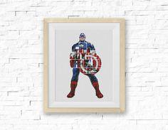 Captain America Cross Stitch Pattern