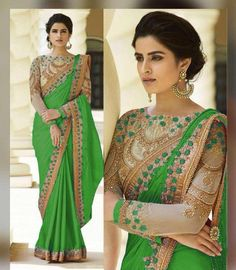Self Pattern Bollywood Saree With Blouse Piece by Sourgrape's Online - Online shopping for Sarees on MyShopPrime - Bollywood Bridal, Bollywood Saree, Crepe Saree, Silk Sarees, Saris, Rangoli Colours, Ethnic Gown, Ethnic Wedding, Embroidery Saree