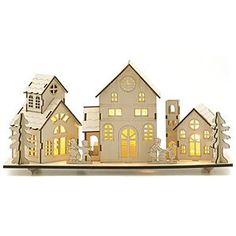 Laser Cut Rustic Wood Christmas Village Scene Holiday
