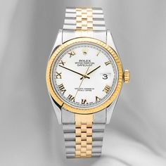 Rolex Men's Datejust Watch In White & Gold - Beyond the Rack