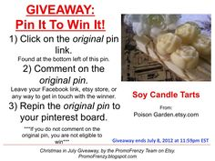 GIVEAWAY - Pin It To Win It: To Win This Item from PoinsonGarden.etsy.com, follow the instructions: Click on ORIGINAL pin, comment leaving a way to contact you, REPIN the ORIGINAL Pin! Contest ends 7/8/12 @ 11:59pm EST. Winner announced 7/9/12.