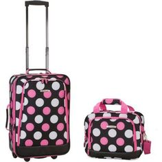 This Rockland deluxe two-piece expandable fashion luggage set is perfect for traveling. This beautiful luggage features in-line skate wheel system for a smooth ride and the bags include two front full-size zipper-secured pockets. Best Luggage, Luggage Sets, Travel Luggage, Travel Bags, Lightweight Carry On Luggage, Polka Dot Backpack, Rockland Luggage, Pink Polka Dots, Pink Dot