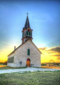 The Old Rock Church. Cranfills Gap, Texas HDR
