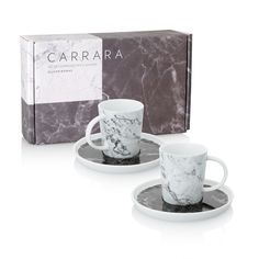 Buy the Carrara Set of Two Marble Espresso Cups & Saucers at Oliver Bonas. Enjoy free UK standard delivery for orders over £50.