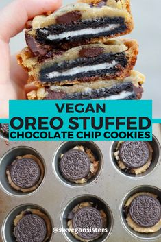 Classic chocolate chip cookies stuffed with Oreos - all vegan. Doesn't get much better than that! Best Vegan Cookies, Cookies Healthy, Vegan Chocolate Chip Cookies, Chocolate Chocolate, Healthy Chocolate, Vegan Baking Recipes, Vegan Dessert Recipes, Best Vegan Desserts, Raw Recipes