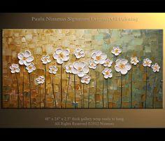 ORIGINAL Large White Flowers Oil Painting Abstract Contemporary daisy field Heavy Impasto Texture by Nizamas Ready to Hang 48x24. $400.00, via Etsy.