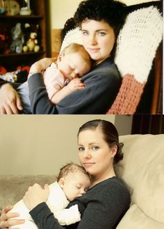 Recreate a photo taken of you and your mom with you and your child. Would make a cute Mother's Day gift framed together :)