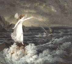 """Amelia Jane Murray (1666-1743), """"A Fairy Waving Her Magic Wand Across A Stormy Sea"""""""