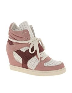 Enlarge Ash Cool Suede Colourblock Pink Strapped Wedge Trainers 160$
