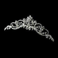 Crystal Floral Wedding Tiara Comb in silver plating.