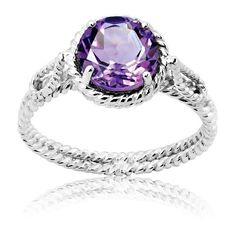 La Preciosa Sterling Silver Amethyst Braided Ring ($34) ❤ liked on Polyvore featuring jewelry, rings, white, round ring, sterling silver jewellery, wide sterling silver rings, amethyst jewelry and wide band rings