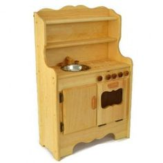 Susan's Wooden Play Kitchen. Made in Maine of solid white pine. From Bella Luna Toys. Built to last for generations of play!