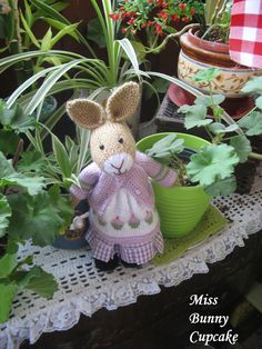 Miss Bunny  Cupcake       Lovely hand knitted by dollsandbunnies