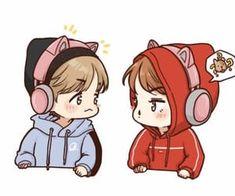 gambar exo, fanart, and sehun Baekhyun Fanart, Kpop Fanart, Exo Anime, Anime Chibi, Exo Cartoon, Exo Fan Art, Cute Couple Art, Disney Fan Art, Cute Icons