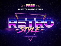 In love with retro style. Andrew Skoch made this free mockup so that everyone could use a cool retro-futuristic style! Photoshop Text Effects, Free Photoshop, Retro Font, Free Text, Retro Futuristic, Cool Posters, Graphic Design Typography, Mockup, Retro Style