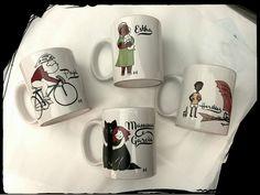 #mugs #family #mugillustration #drawing #personalised #cat #bike #children #breakfast