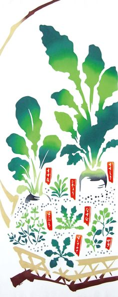 Japanese washcloth, Tenugui 手ぬぐい 春の七草籠 spring vegetables