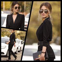 ᎪᎷᎾᎾᎾᎾ quando nossas musas passam por aqui ❤️ Karina all Black com  #jimmychoo by oticaswanny no #spfw2016 #spfw #fashion #moda #clientewanny #ootd #pretinhobasico #blogguer #linda #streetstyle #krcb