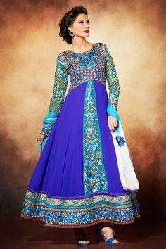 Ravishing Nargis Fakhri Blue Georgette Embroidered Floor Touch Long Anarkali Dress