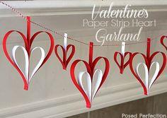 Valentine's Paper Strip Heart Garland
