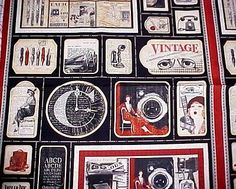 """Fabric-COMMUNIQUE-ART-DECO-1920s-Vintage-Ads-Fountain-Pen-Film-Camera-Wilmington-This is fabric but that clock emblem with initial """"C"""" gave me an idea that a """"initial"""" on a real clock would be a nice project"""