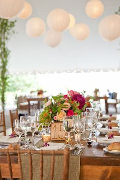 Love the natural scheme with bright pop of color in centerpieces but would like more bright orange and pink