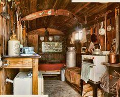 inside a gypsy wagon/ shepherd's hut. I love that stove/oven!! I WISH. I WISH. I WISH.