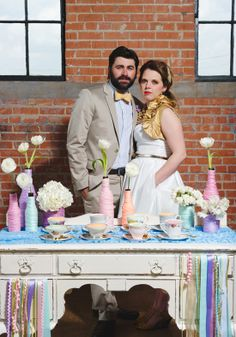 Rainbow + Bowtie Wedding Ideas - Blog - RENT MY DUST Vintage Rentals ~ Mismatched teacups and saucers
