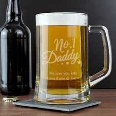 Our Personalised 'No.1 Daddy' Glass Pint Stern Tankard is an ideal gift for a one of a kind dad.  The tankard can be personalised with 2 lines of text, with up to 20 characters per line.   The text 'No.1 Daddy' is fixed and cannot be amended.  Please note that all personalisation is case sensitive and will appear as entered. Please avoid entering your text in block capitals as this may result in the personalisation being difficult to read.  Glass is presented in a folding gift box.  Ideal…