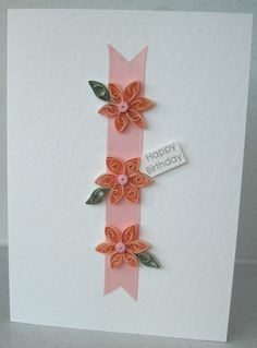 Handmade quilled happy birthday card with quilling flowers. £5.00, via Etsy.