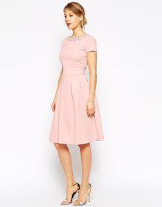 ASOS | ASOS Embellished Neckline Debutante Midi Dress at ASOS