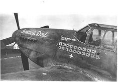 """US Army Air Force photo showing the nose area of a Mustang named """"Tommys Dad"""". What makes the photo unusual is that the Mustang sports a German kill marking along with a number of Japanese kill markings. Ww2 Pictures, Ww2 Photos, Cromwell Tank, Flak Tower, Post War Era, P51 Mustang, Photo P, Dog Fighting, Fighter Pilot"""