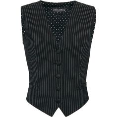 Dolce & Gabbana     Pinstripe Gilet ($895) ❤ liked on Polyvore featuring outerwear, vests, black, v-neck vest, gilet vest, cotton vest, pinstripe vest and v neck vest