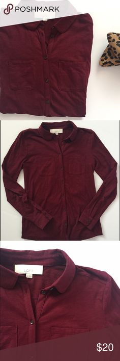 """Comfy Button Up Shirt  Cotton button up shirt with long sleeves and the perfect color for fall. Lightweight. Measurements: 24"""" length, 25"""" arm, 15"""" chest. Excellent condition! *NO TRADES*  ⭐️Use the """"Buy Now"""" or """"Add to Bundle"""" button. 10% off bundling available. ⭐️ LOFT Tops Button Down Shirts"""