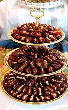 Iraqi sweet -Date with almond & walnut Date Recipes Desserts, Ramadan Recipes, Sweet Desserts, Sweet Recipes, Ramadan Food, Party Food Buffet, Party Food Platters, Dessert Buffet, Delicious Fruit