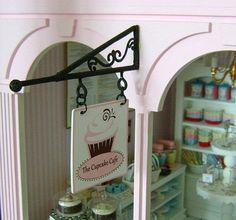 Custom SHOP BRACKET & Hanging SIGN Patisserie Boulangerie etc. - Dollhouse Miniature 1/12 th Scale. $50.00, via Etsy.