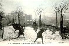 Paris sous la neige En 1905 – Une bataille de neige sur la Butte Montmartre.