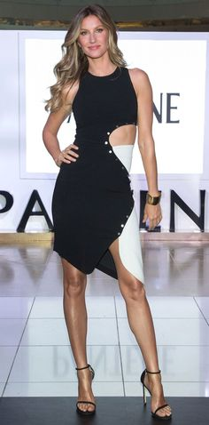 Gisele Bundchen in a black-and-white cutout mini dress