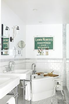 White industrial bath